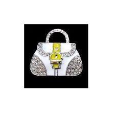 USB Stick 8 GB Handtasche Handbag Bag Tasche weiß gelb Strass Schmuck Anhänger