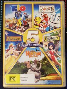 Rio Robots Anastasia Horton hears a who Fern Gully 5 movies 5 discs dvd