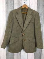 Vintage Dunn Co Harris Tweed Green Handwoven Wool Jacket Size L