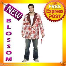 C344 Adult Mens White Bloody Blazer Jacket Tuxedo Fancy Dress Halloween Costume