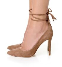$298 Joie Angelynn Suede Lace-up Wrap Pumps Tan Beige Tan Heels Pointed Sz  38.5