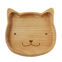 Natural Wood Serving Tray Food Dishes Platter Cat Style Kids Wooden Plate