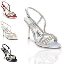 Sandalias De Mujer Tacón De Plataforma Señoras Diamante Con Tiras Zapatos De Novia Fiesta De Graduación 3-8