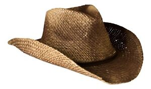 Vintage Style Unisex Cowboy Hat - Brown Straw With Shapeable Brim
