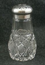 MUFFINEER / SUGAR SHAKER - Cut Glass with Beautiful 800 SILVER TOP - Victorian
