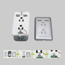 US Wall Panel Outlet with Dual USB Charger Electrical Socket Duplex Receptacle