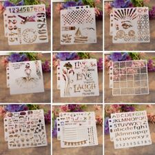 9Pc Number Letter Drawing Airbrush Painting Stencil DIY Craft Album Scrapbooking
