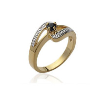 Ring Stone Sapphire Real Gold Plated 18 Carat T48 with 68 Jewelry New