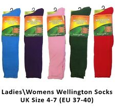 Ladies Womens 60 cm Long Length Welly Wellie Sock Wellington Boot Socks Size 4-7