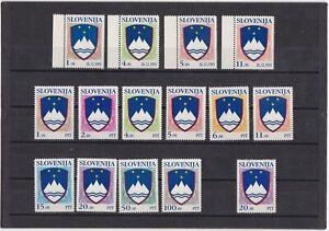 Slowenien: kompl. postfr. Freimarkenausgaben von 1991-92