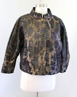 Carlisle Brown Black Spotted Cheetah Print Ruched Sleeve Jacket Size 6 Collared