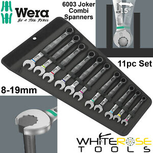 Wera 6003 Joker 11 Set 1 Combination Spanner Wrench 11pc 8-19mm Open End Ring