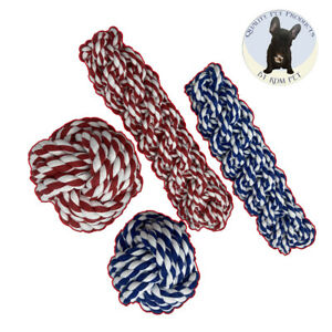 KDM Pet 4 Pack Rope Toys 2 8 Inch Retrievers Plus 2 3.5 Inch Balls for Dogs
