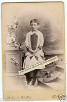 Cabinet Photo -Detroit Michigan-Very Cute Little Girl; Unusual Dress, Hat on Flo
