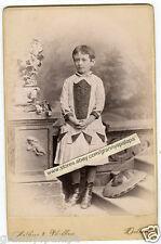 Cabinet Photo -Detroit Michigan-Very Cute Little Girl; Unusual Dress, Hat on Flo
