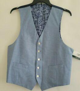 Lauren Ralph Lauren Mens L Light Blue HITCHCOCK Cotton Suit Separate Vest