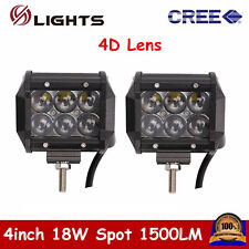 "2X 4""inch 18W CREE Spot Pod Lights LED Work Light Off-road UTE 4WD Truck 4D Lens"