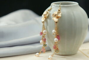D13 Earrings Gold Plated Bloom With Tassel Freshwater Pearls White Tourmaline