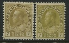 Canada KGV 1912 7 cents yellow ocher Admiral and 1915 olive bister mint o.g.