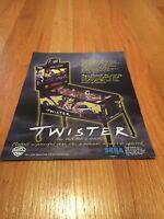 Sega & Warner Bros. Twister Pinball Machine Flyer, 1995 NOS