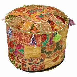 """18"""" Indian Patchwork Round Ottoman Pouf Cover Vintage Moroccan Footstool Pouffe"""