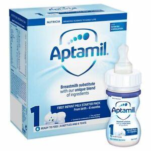 Aptamil First Infant Milk Starter Pack - 6 Bottles and Teats
