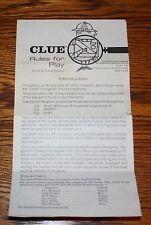 Vintage 1963 Clue Game parts - original instruction booklet