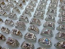Wholesale Lots 5Pcs Crystal CZ Rhinestone Silver Plated Mens Rings Wedding Gift
