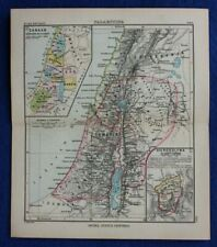 ANCIENT PALESTINE, ISRAEL, CANAAN, original antique map, Justus Perthes 1898