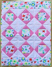 """Baby Girl Quilt Handmade Pink Floral Patchwork Crib Blanket 36""""x 44"""" NEW"""