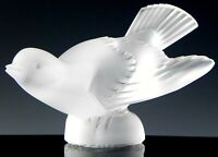 Lalique France Crystal Figurine #11633 SPARROW BIRD WINGS OUT Mint