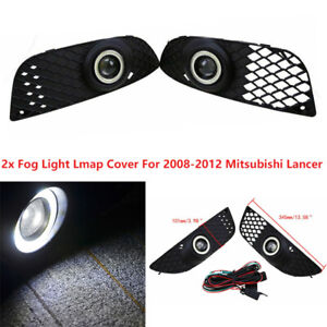 For Mitsubishi Lancer 2008-2012 Grille Fog Light LED Lamp Angle Eye Cable Wiring