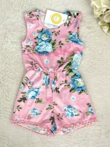 Girls Romper Size 3 to 6 years Pink/Green/Blue Floral Pom Pom Trim Playsuit