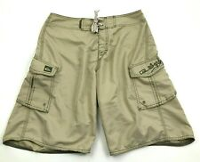 VINTAGE Quicksilver Board Shorts Size 32 Mens Camel Tan Boardshort Swimsuit 90's