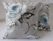 "16"" Cushion Cover Blue Grey Teal Cream Flower Print New Handmade 40cm"