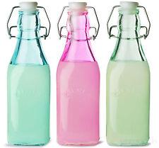 Set Of 3 250ml Kilner Vintage Colour Glass Oil Flip Swing Top Preserving Bottles