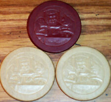 Lot 3 Old STOP MONKEYING Embossed Casino Poker Chips Vintage Antique PC-RA