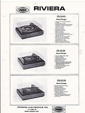 VINTAGE AD SHEET #3255 -  1970s RIVIERA ELECTRONICS TURNTABLES