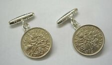 Sterling Silver 6d Lucky Sixpence Six pence Coin Cufflinks Chain T Bar UK Seller