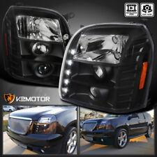 2007-2014 GMC Yukon XL Projector LED Headlights Black Left+Right
