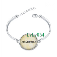 I love Books - Book Love glass cabochon Tibet silver bangle bracelets wholesale