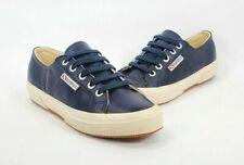 Superga 2750 Navy Blue Leather Casual Trainers Lace Up Shoes Womens Size 6.5 37