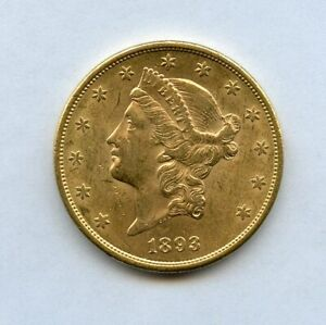 1893-S $20 Twenty Dollar Liberty Head Double Eagle Gold Coin Uncirculated
