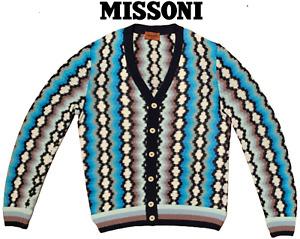 Missoni Men's Diamond ZigZag Pattern Rayon Linen Cardigan Sweater Jacket
