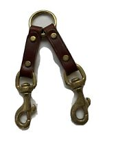 """New listing 2-Dog Coupler Splitter 5/8"""" X 12"""" Leather, Brass Snap & O-ring, pre-owned"""