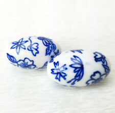 Porcelain Blue White Flowers Daisy Round BEADS 25x15mm 3Pcs