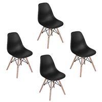 4er Schwarz Wohnzimmerstuhl Esszimmerstuhl Bürostuhl Designer Kunststoff Stühle