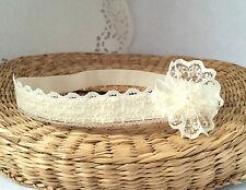Baptism handmade headband, ivory baby hair band christening wedding tiara flower