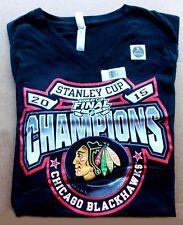 2015 Chicago BLACKHAWKS Hockey -- STANLEY CUP -- Ladies Large Black V-neck SHIRT