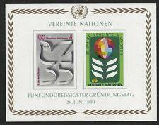 United Nations Scott #Vienna 14, Souvenir Sheet 1980 Complete Set FVF MNH